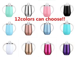 Wholesale 12colors!! Sippy cup 10oz Kid water bottle Stainless Steel tumbler with Handle Vacuum Insulated Leak Proof Travel cup Baby bottle BAP FREE