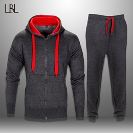Sportswear Hoodie Tracksuit Australia - LBL Casual Hooded Tracksuits Men Sportswear Mens Sweat Suits Hoodie + Pants Two Pieces Sets Autumn Tracksuit Male Chandal Hombre