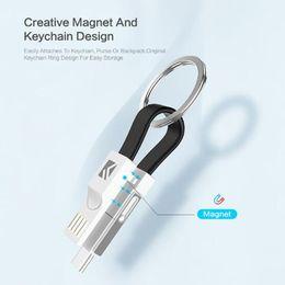 Toptan satış 3 in 1 USB Kablosu Mikro USB C Tipi Aydınlatma Kablosu iphone XR X Samsung HUAWEI 2A Mini Anahtarlık Şarj Şarj Kabloları