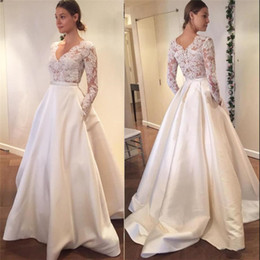 23dc860deac 2019 White Ivory Lace A-line Wedding Dresses Ball Gown Long Sleeve Lace Church  Bridal Gown Chapel Train Custom Made