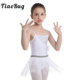 44ff85359 TiaoBug Kids Girls Shiny Sequins Tassels Latin Dance Dress Elastic Straps  Rumba Salsa Tango Leotard Children Stage Dance Costume