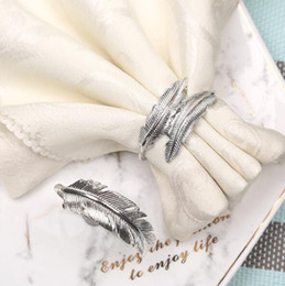 $enCountryForm.capitalKeyWord Australia - DHL silver feather napkin buckle new western restaurant napkin ring plating towel Holder hotel table decoration Accessories 8*8cm