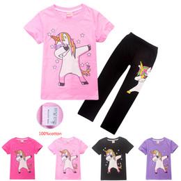 1118eb833d63 100% Cotton 4-12t Kids Girls Boys Unicorn Printed T-shirt + Trousers 2  Piece Sets Cartoon Kids Clothing Sets kids designer clothes DHL SS93