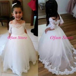 $enCountryForm.capitalKeyWord Australia - Cute 2019 A Line Off The Shoulder Short Sleeves White Tulle Flower Girl Dress vestidos de desfile de niñas with Appliques