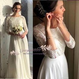 Summer Wedding Pictures Australia - 2019 Berta Lace Chiffon Elegant Summer Beach A-line Wedding Dresses top lace Custom Made long Sleeves Cheap Bohemia Bridal Wedding Gowns
