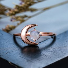 rose gold cluster engagement rings Australia - Boho Female Real Small Round Natural Moonstone Ring Rose Gold Wedding Rings For Women Cute Love Moon Engagement Ring