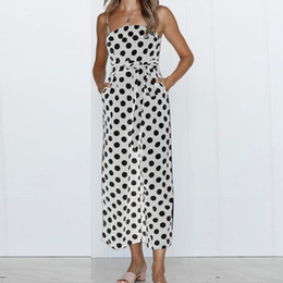 $enCountryForm.capitalKeyWord Australia - 5 Kinds Color chiffon Beach Jumpsuits Women Casual Summer Sleeveless Sling Polka dot Print Long Jumpsuit With Sashes 703