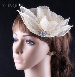 vintage headpieces hats UK - Vintage sinamay material women's ivory party fascinator headwear headband wedding headpiece show hat hair accessories FNR151265