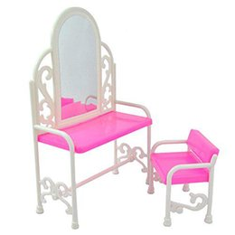 table sets accessories 2019 - Kids Toy Accessories For Doll Fashion Dressing Table And Chair Set For Dolls Bedroom Furniture cheap table sets accessor