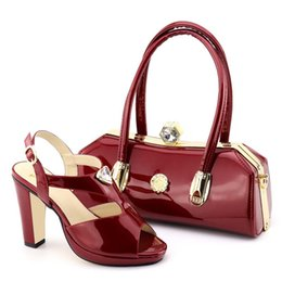 2019 Wine Red Color African Matching Shoes and Bags Italian Women Ladies Italian  Shoes and Handbag Set Decorated with Rhinestone b9df050120be