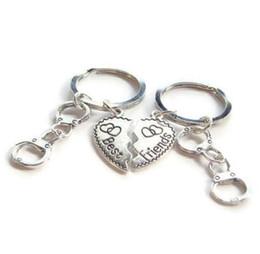 $enCountryForm.capitalKeyWord Australia - Vintage Silver Heart Best Friend Handcuff Keychain Set Punk BFF Friendship Key Ring For Keys Car Bag Key Chain Handbag Couples Gifts Jewelry
