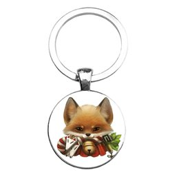 car bottle opener UK - Charm Keyring Cute Fox Photos Keychain Women Bag Pendant Car Key Fashion Ring Pendant Bag Charm Jewelry