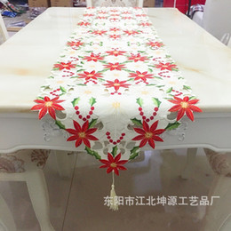 Ky online shopping - Christmas High Grade Table Flag Embroidery Hollowing Out Decorated Tablecloths Dining Room Restaurant Floewr Banner Pure Color ky A1
