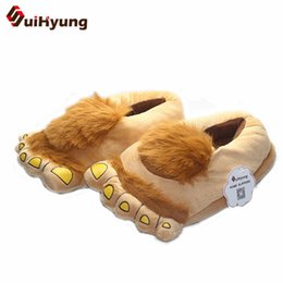 winter men warm home slippers NZ - New Thermal Winter Cotton Slippers Women Men Plush Soft Cotton Padded Shoes Warm Hobbit Big Feet Home Floor No Slip Slippers