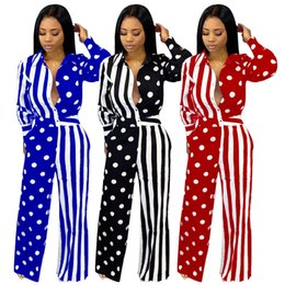 fall rompers 2019 - Women long sleeve Button jumpsuits Wide-Leg Pant Polka dot Striped rompers sexy pants fall Fashion Clothing 1504 cheap f