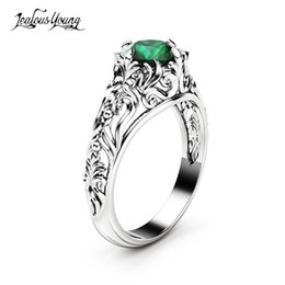 $enCountryForm.capitalKeyWord Australia - Gothic Green Crystal Cubic Zirconis Wedding Ring With White Silver Color CZ Stone Rings for Women Party Jewelry Gift anillos