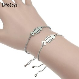 fishbone chain wholesale Canada - LifeJoys Fish Bone Bracelet Stainless Steel Fishbone Charm Slide Chain Bracelet Women Jewelry Fashion Sister Gifts Polished