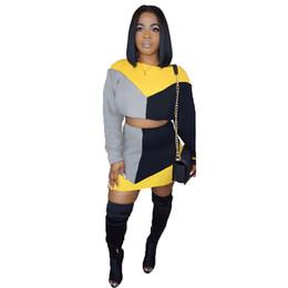 $enCountryForm.capitalKeyWord UK - Spring Contrast Two Piece Skirt Set Short Women Long Sleeve Sweatshirt Crop Top And Mini Skirt Casual 2 Piece Outfits