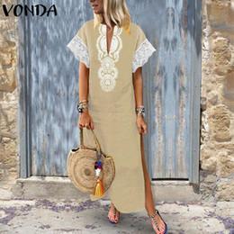 $enCountryForm.capitalKeyWord Australia - Vonda Women Sexy Maxi Long Dress 2019 Summer Vintage V Neck Short Sleeve Bohemian Split Lace Patchwork Party Vestidos Plus Size Y190514