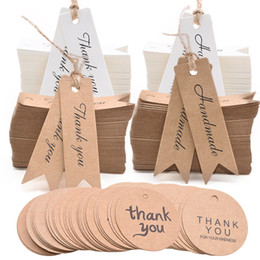 $enCountryForm.capitalKeyWord Australia - 100pcs Thank You Handmade Tag Kraft Paper Gift Tag Label Jute Rope for DIY Crafts Product Tags Handmade Gift Candy Shop Supplies