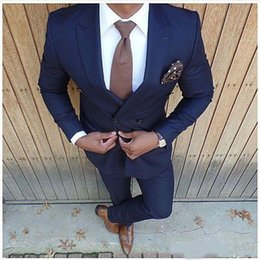 mens two piece linen suits Australia - 2019 New Slim Fit Mens Suits Two Piece Navy Bue Suit Mens Wedding Suits Mens Blazer Pants Vest