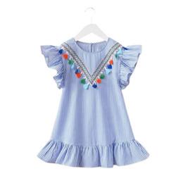 4963e7cf29ebbd Cute puff sleeve Cotton tops online shopping - 2019 Summer Girls Tassel  Flying Sleeve Dresses Stripe