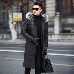 jacket cuero Australia - Mens Leather Jacket Sheepskin Genuine Leather Jacket Men 2019 Warm Duck Down Winter Coat Long Chaqueta Cuero Hombre 19007 YY700