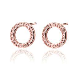 $enCountryForm.capitalKeyWord Australia - Summer Stud Earrings For Women Lucky Round Word Jewelry Female Crystal Rose Gold Minimalist Earring Girl Fasion Jewellery