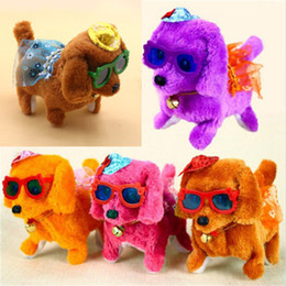 wholesale walking dog toys Canada - Electronic Walking dogs Children Interactive Electronic Pets Doll Plush toys dogs Toy Electric dogs plush glow toys Christmas gift
