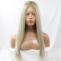 $enCountryForm.capitalKeyWord Australia - Honey Blonde Lace Front Wig Middle Part With Baby Hair Glueless Blonde Platinum White Synthetic Lacefront Wig Heat Resistant For White Women