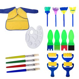 painting clothing Australia - 18PCS Set Children DIY Art Craft Early Learning Painting Drawing Tools Set With Sponge Brushes Apron Clothing Palette Paint Tray
