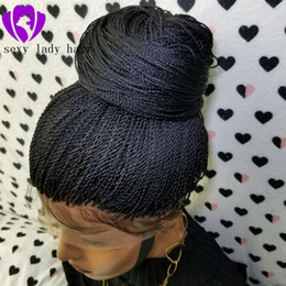 black blonde ombre wig NZ - Natural 2x Twist Braids Wig Black brown blonde   Ombre color Two tone Long Synthetic braided Lace Front Wigs with Baby Hair Heat Resistant