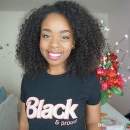 Afro American Hair Australia - Afro Kinky Curly Human Hair Wig For African American Pre Plucked Malaysian Virgin Hair Kinky Curly Full Lace Wigs Baby Hair