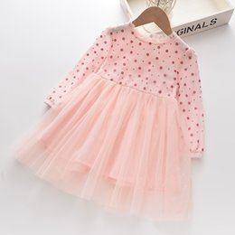 full lace tutu Canada - Autumn Girls Polka Dots Tutu Dress 2020 New Children Lace Ruffle Collar Gauze Princess Dress Kids Dot Lattice Long Sleeve Party Dress V045