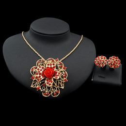 Resin Rose floweR eaRRings online shopping - Yulaili Pendant Brooch Necklace Earrings Rhinestone Fashion France Rose Resin Flower Gold Color Plating Two Jewellery Sets