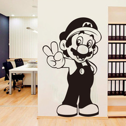Wholesale heroes video games online – design Super Mario Wall Sticker Retro Video Game Hero Vinyl Decal Home Interior Decor Art Murals Children s Room Creative Cartoon