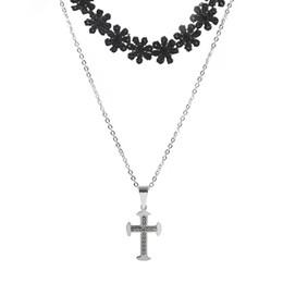 a2c6b3c8c5b6 Mujeres Cristal Ajuste Cadena Cruzada Tejido Negro Flor Colgante Collar de  Color Plata Aretes de Circón Conjunto de Acero Inoxidable
