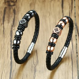 $enCountryForm.capitalKeyWord Canada - Genuine Leather Braided Leather Men Bracelet Stainless Steel Beads Bangle Punk Stacked Wrist Accessories BL-480BBMG