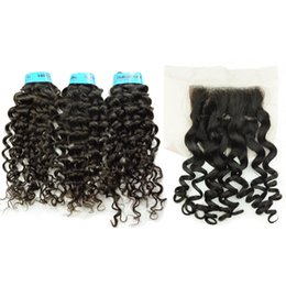 $enCountryForm.capitalKeyWord UK - Curly Indian Virgin Hair Bundles with Lace Closure 4x4 Double Strong Wefts Grade 10A Italy Curl Cheap Affordable Natural Black Color