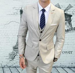 Plus Size Navy Blue Suit Australia - XLY Groom Tuxedos for Men Prom Suits Slim Fit 3 Pieces Mens Suits With Pants Wedding Suits Set Beige Blue Tux Plus Size blazer