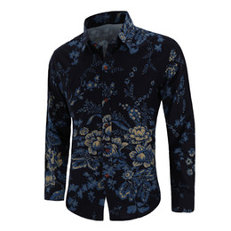 chinese design shirts NZ - Hot sale fashion design shirt men long-sleeved linen Chinese style men's flower shirt free shipping