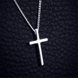 $enCountryForm.capitalKeyWord Australia - New Fashion 925 Sterling Silver Jewelry Tiny Cross Pendant Necklaces For Women Lovers Gifts 40cm Chain Choker Necklace