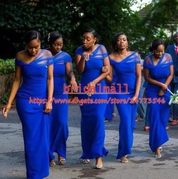 Beach portrait dresses online shopping - Convertible Royal Blue Mermaid Bridesmaid Dresses Floor Length Garden Beach Country African Wedding Guest Gowns Maid Of Honor Dresses