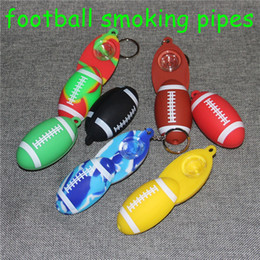 Portable Hand Bongs Australia - Football Silicone Tobacco Smoking Cigarette Pipe Water Hookah Bong Portable Shisha Hand Spoon Pipes Tools With glass Bowl + keychain