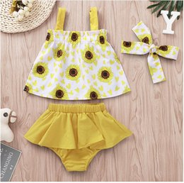 Three Piece Suit Bow Australia - Girl Sunflower Print Suspender Belt Tops and Short Pants Set Baby Summer Sleeveless Tops and Romper Suit Kids Clothes Three Pieces ZHT 241
