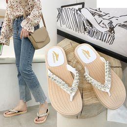 $enCountryForm.capitalKeyWord Australia - 1Crystal String Bead Outside Elegant Shallow Women Slippers Summer Rivet Beach Sweet Flat Flip Flops Solid Soft Shoes