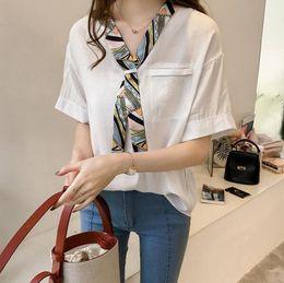 Han Fan NZ - 2019 new Hong Kong-style splicing collar scarf shirt women's short-sleeved shirt loose thin Han Fan shirt tide