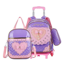 pink car set UK - NEW 3PCS SET girls students trolley case Travel luggage waterproof PU cartoon car 3 wheels trolley school bag backpack for girls