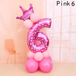 birthday party decorations pink white balloons UK - 2019 Merry Christmas 1 2 3 4 5 6 7 8 Rose Gold Number Foil Balloons Digital Helium Wedding Decoration Birthday Party Balloon