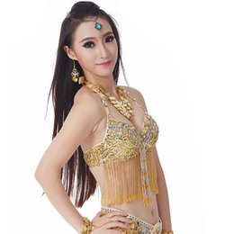 $enCountryForm.capitalKeyWord Australia - Belly Dance Fringe Halter Top Bra Sequin Beaded Women Girls Costume Underware Festival Dancing Outfit Belly Dancing Bra 9 Colors Wholesale